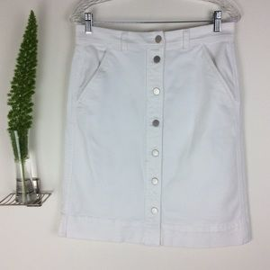 Ann Taylor Factory Pretty White Denim Skirt (8)